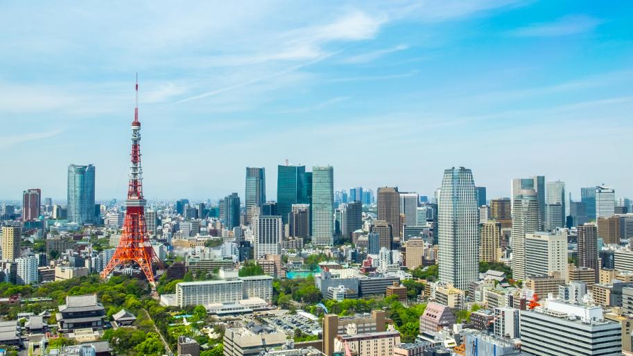 Tokyo Tower und Stadtviertel Minato-ku